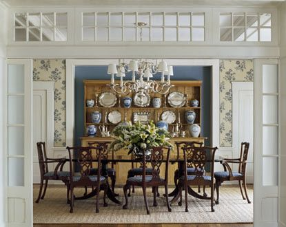 Dining Room Decorating in Traditional Style Using Chandelier, Dresser & Coffee Table -  Cabinet,  Flower Arrangement,  Candle, Area Rug &  Dining Table