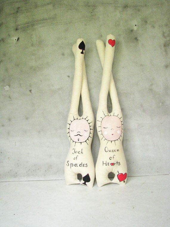 FREE SHIPPING OOAK wedding personalized linen doll set, queen of hearts and jack of spades,moustache, christmas in july, french baby toys