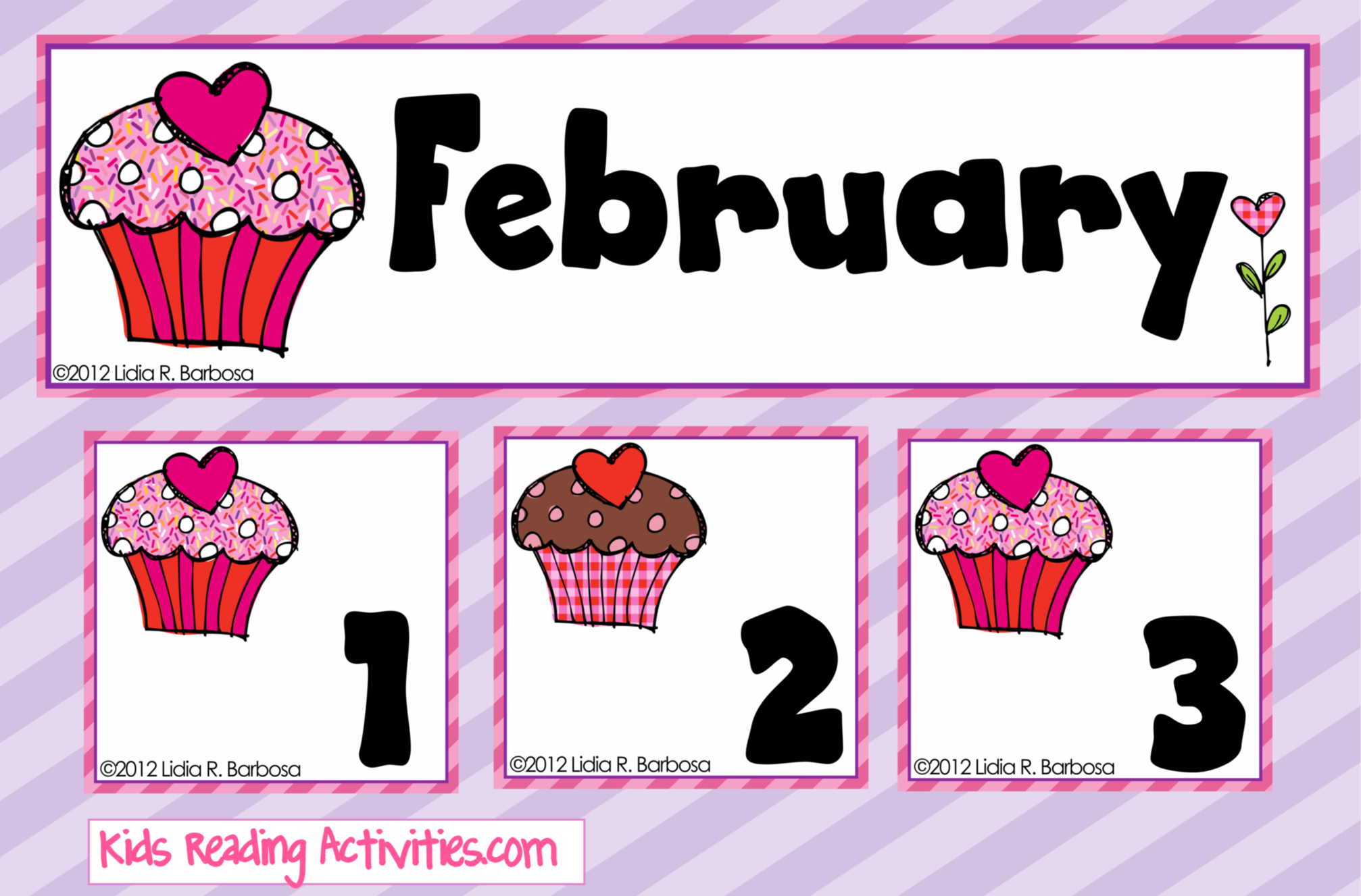 Free Calendar Pieces Strawberry And Chocolate Cupcakes
