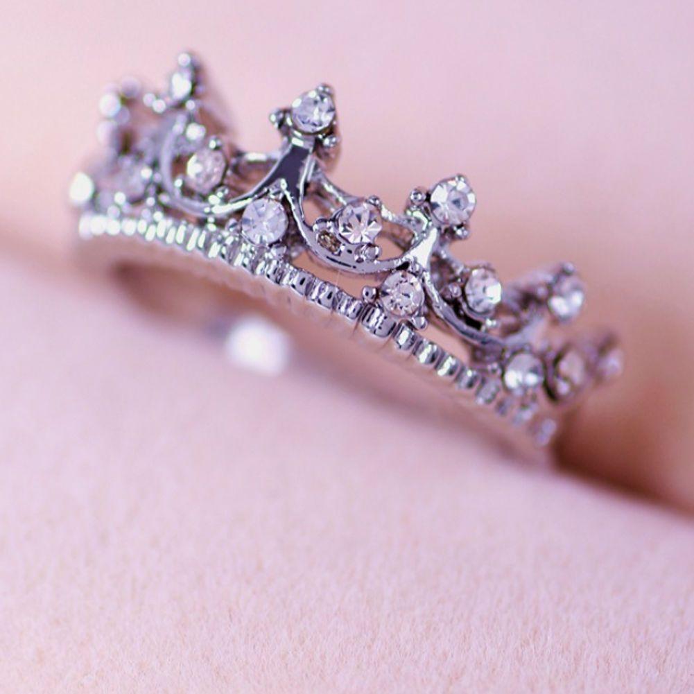 Fashion Wedding Silver Rings Women Princess Royal Crystal Crown ...