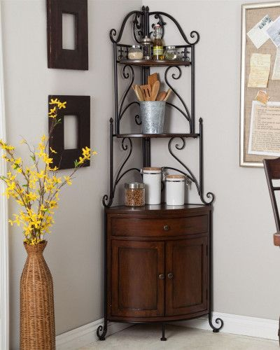 Unbelievable Corner Bakers Rack With Wrought Iron Frame And Wood