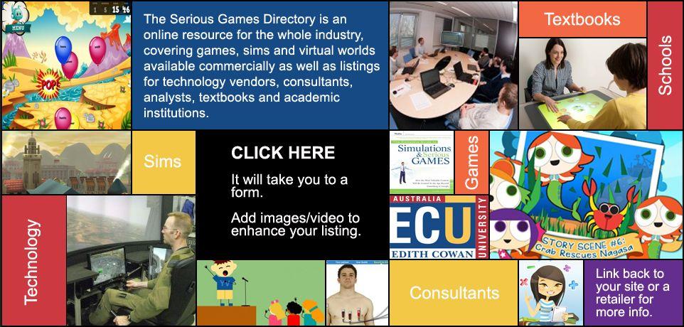Serious Games Directory BETA   Directorio de empresas pertenecientes a la asociación internacional de Serious games.