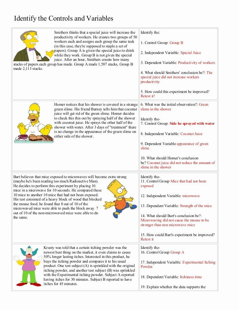Scientific Method Worksheet Answer Key Best Of Bart Simpson Controls And Varia In 2020 Scientific Method Worksheet Middle School Science Experiments Science Worksheets Science variables worksheet 5th grade
