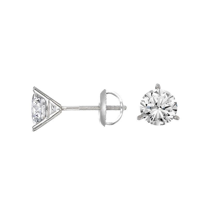 df61e3185 18K White Gold Three-prong Martini Round Diamond Stud Earrings from  Brilliant Earth