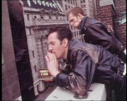 Joe Strummer and Paul Simonon of the Clash, on a roof in New York.