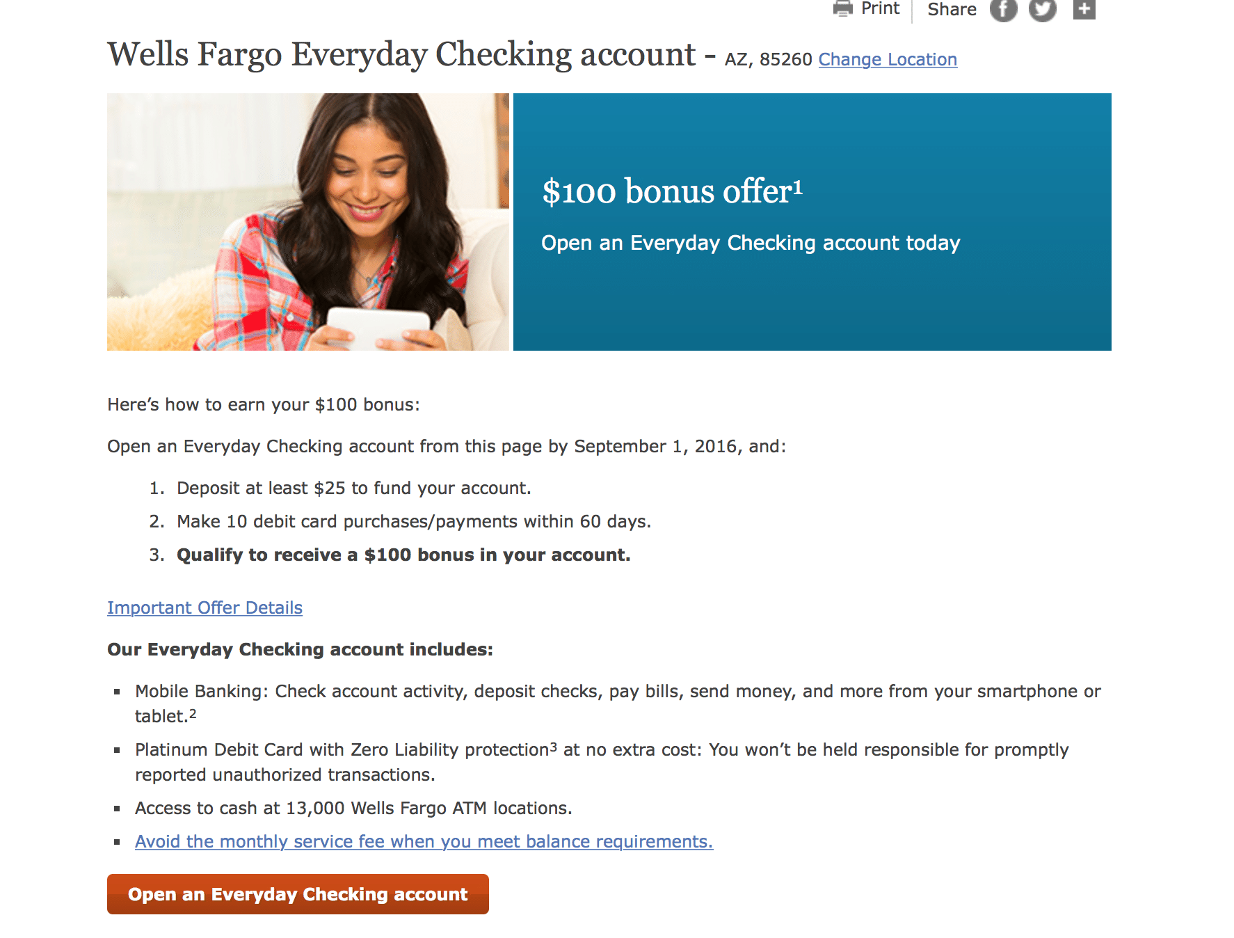 Wells Fargo checking $100 sign up bonus with no direct deposit ...