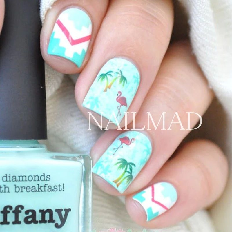 Free Hand Nail Hart using stencils for geometric design and Flamingo ...