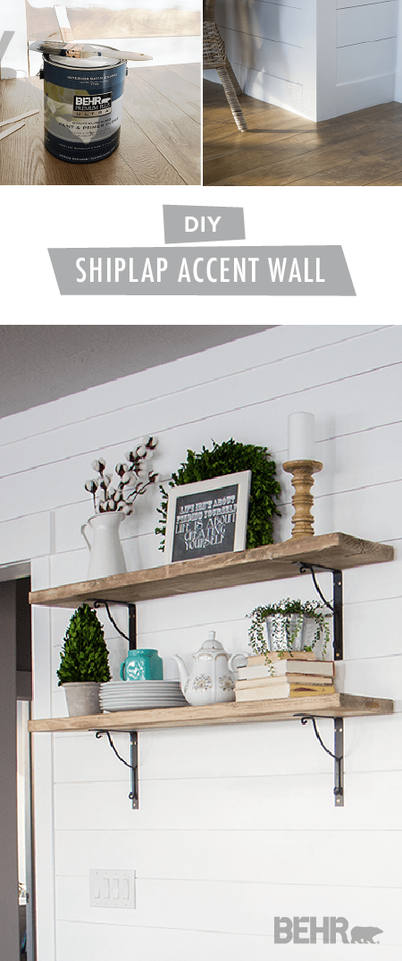 Shiplap walls are all the rage in interior design trends right now. Check out this DIY shiplap accent wall tutorial from Heidi, of Honeybear Lane, for an easy way that you can get in on this trend. Heidi painted her shiplap wall a timeless shade of Ultra Pure White to create a bright and open look. Then, she added these rustic wood shelves for a little splash of farmhouse chic charm.