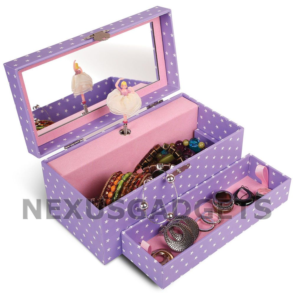 Ballerina Jewelry Box Girls First Music Spinning Dancing Ring Case