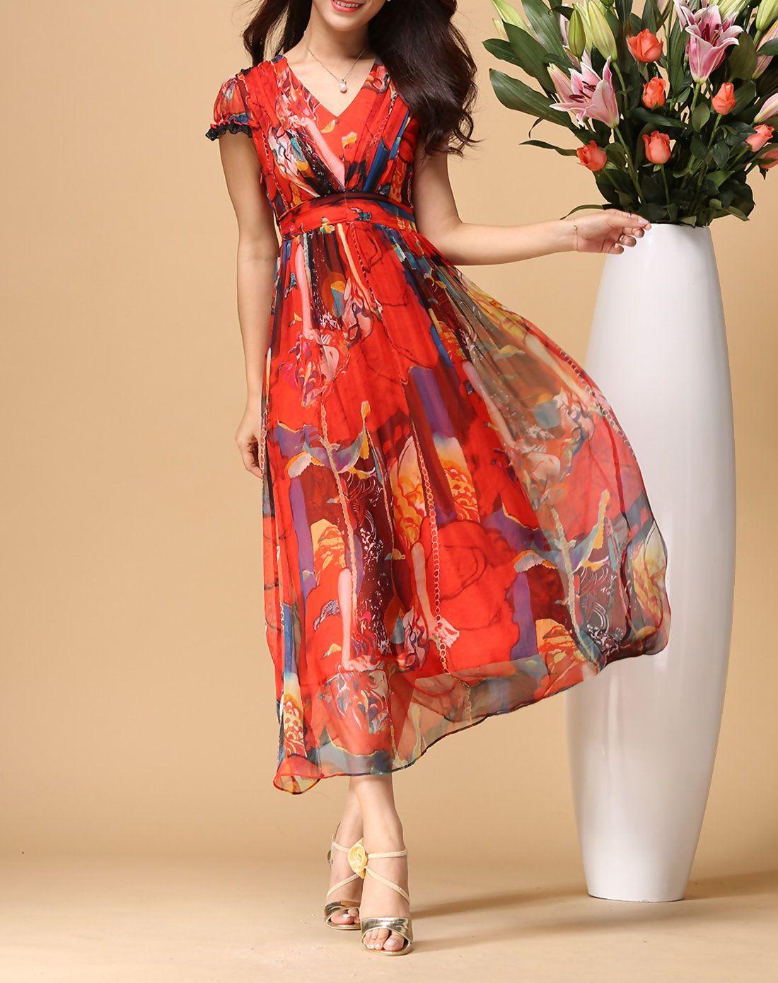 Red bohemian silk summer maxi dress boho dress summer and summer maxi