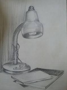 Easy Lamp Pencil Drawing