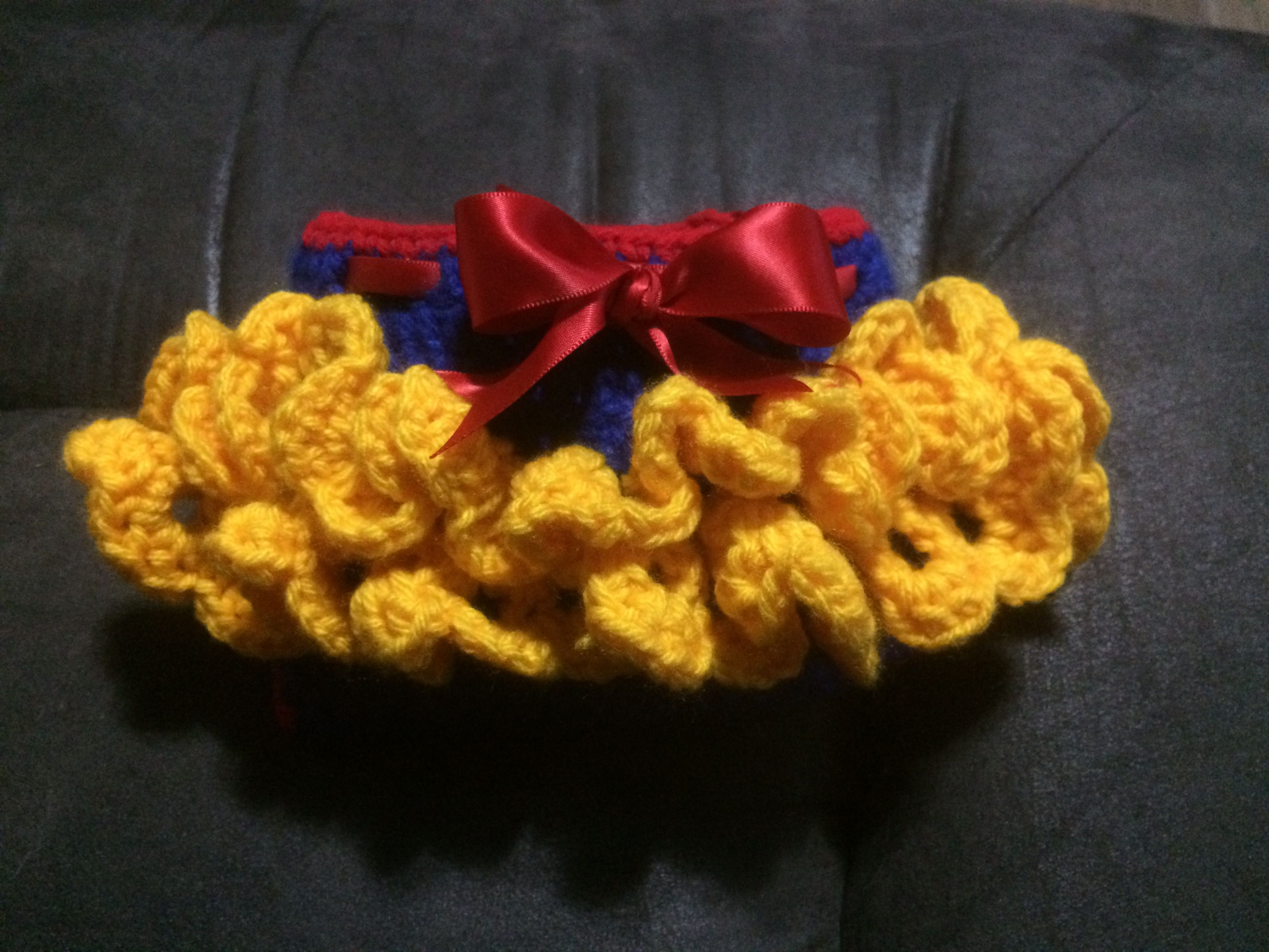 Snow White inspired diaper cover; crochet diaper cover; diaper ...