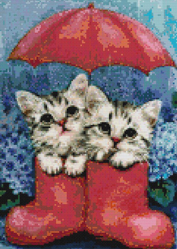 kittens in boots   Sticken   Pinterest   Cross stitch animals, Cross ...