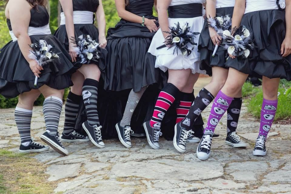My bridesmaids dresses and socks at our Nightmare Before Christmas