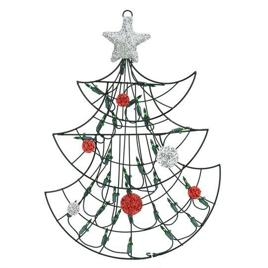 """19"""" Lighted Christmas Tree with Silver Tinsel Star Window/Wall Silhouette Decoration"""