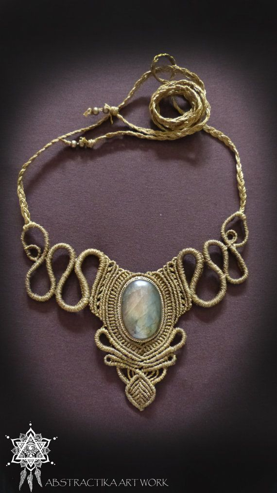 victorian steampunk macrame necklace with labradorite gemstone goddess tiara goddess necklace. Black Bedroom Furniture Sets. Home Design Ideas