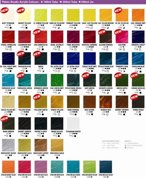 Pin By Cziplee On Pebeo Acrylic Colors Color Chart Color Names