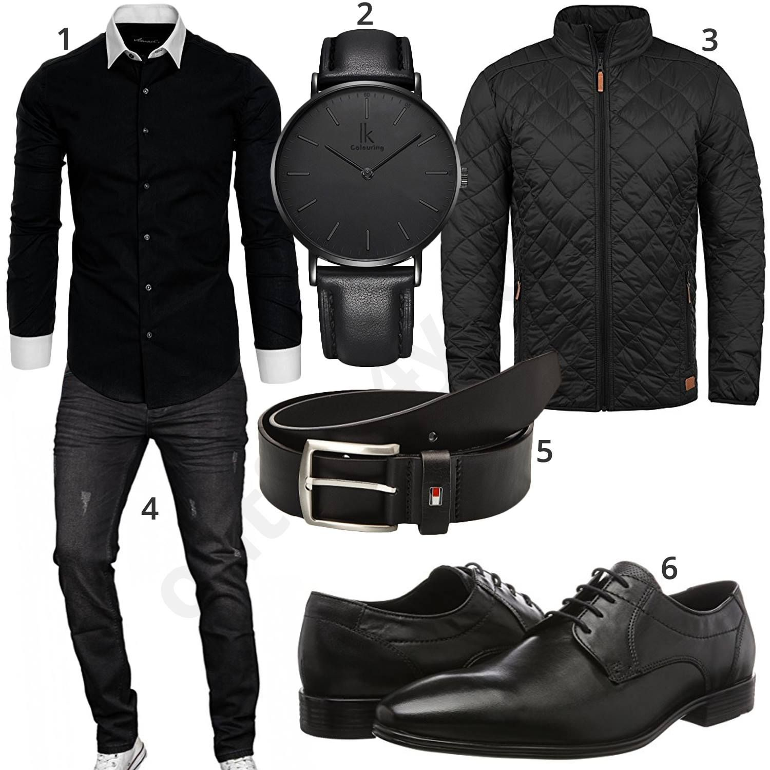 schwarzes business outfit mit hemd jeans und schuhen. Black Bedroom Furniture Sets. Home Design Ideas