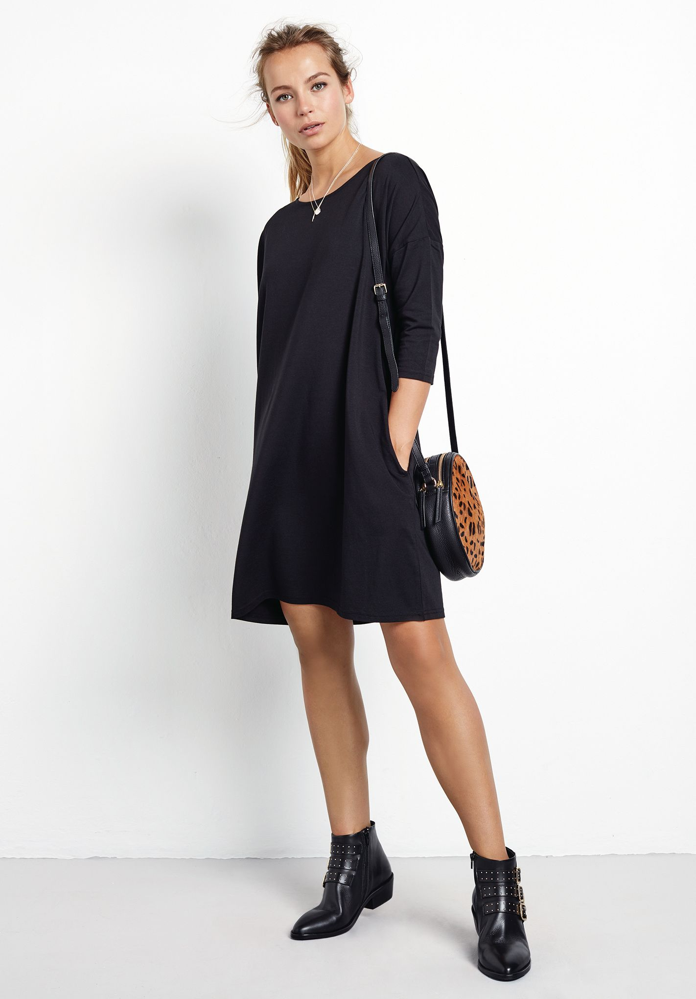 Ivy Jersey T Shirt Dress Knee Length With Elbow Length Sleeves And