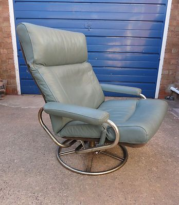 very cool vintage retro 1970s green leather chrome swivel chair