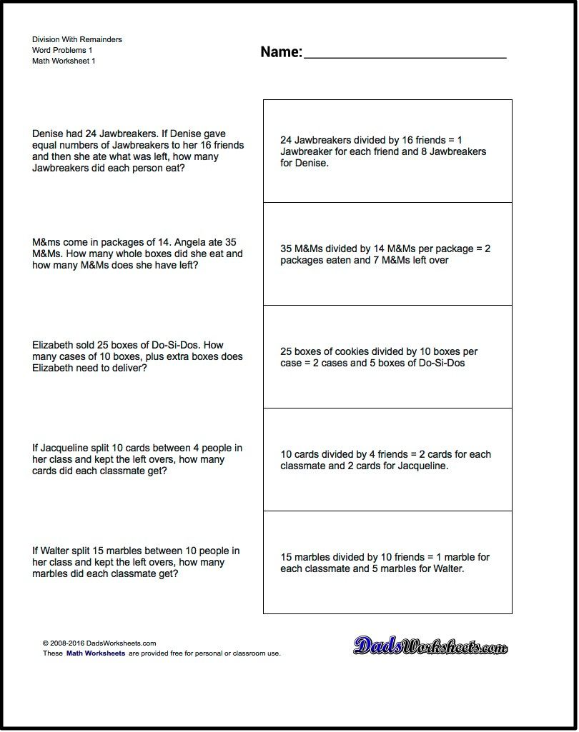 worksheet Word Problems Math Worksheets word problems division with remainders ideas for free math worksheetsshare