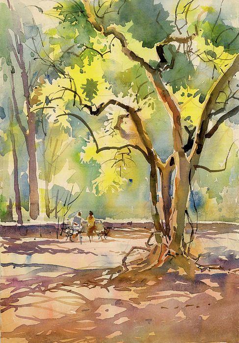 Central Park Canvas Print Canvas Art By Lola Connelly Watercolor Landscape Paintings Landscape Paintings Watercolor Landscape