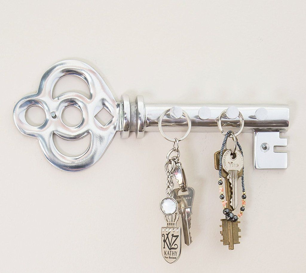 Decorative wall mounted key holder multiple key hooks rack hand decorative wall mounted key holder multiple key hooks rack hand cast aluminum modern theme polished finish with screws and anchors ppazfo