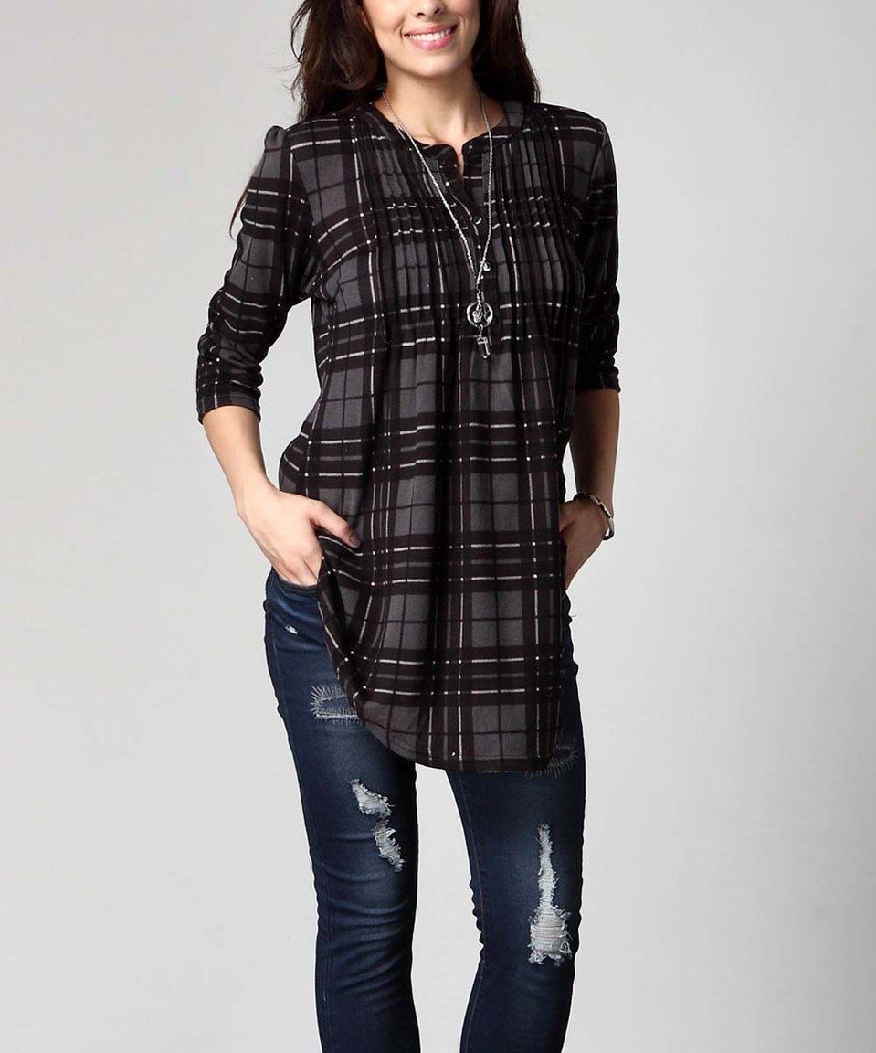 Look what I found on #zulily! Charcoal Plaid Notch Neck Pin Tuck Tunic - Plus by Reborn Collection #zulilyfinds