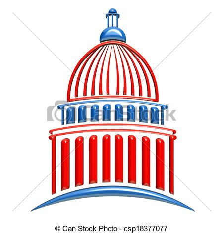 Capitol Building Red and Blue - csp18377077