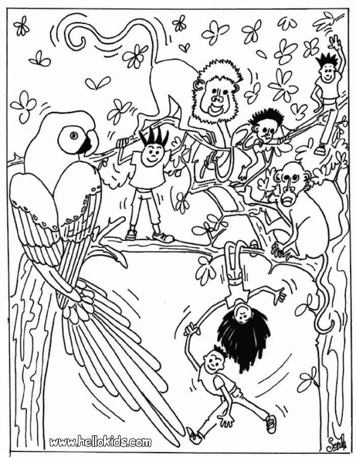 Jungle Animals Coloring Page More Sheets On Hellokids