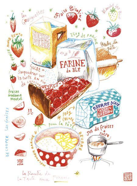 tarte aux fraises avec une superbe illustration
