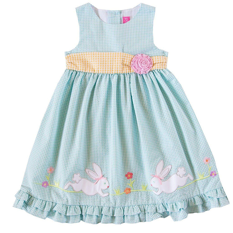 Amazon.com: Good Lad 8/8X Turquoise Seersucker Dress With Bunny