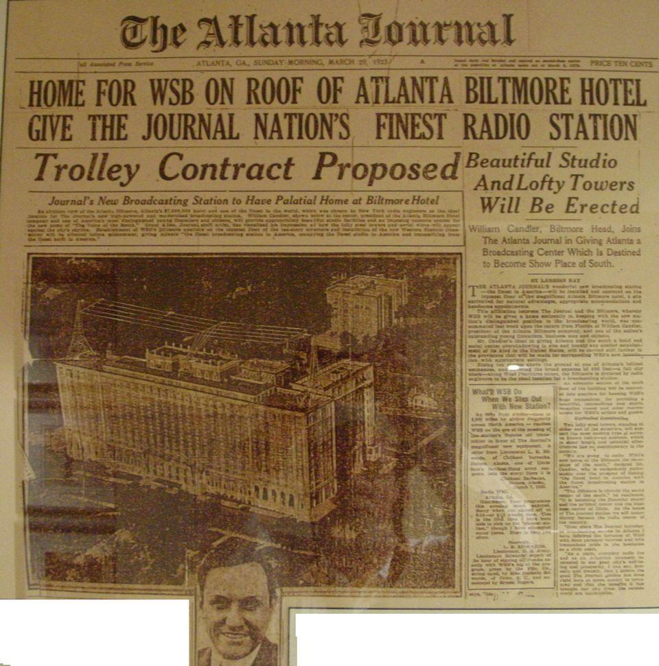 Wsb Began In Biltmore Hotel Atlanta 20s
