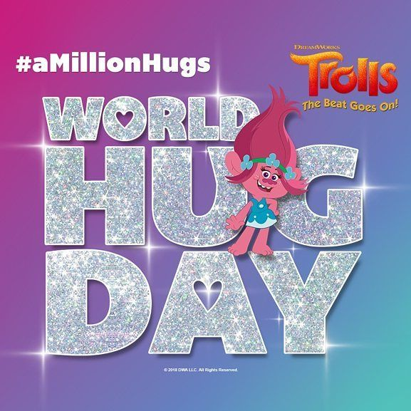 It's World Hug Day - be sure to hug the ones you love! And check out Trolls: The Beat Goes On on @netflix now! #amillionhugs #dreamworkspartner