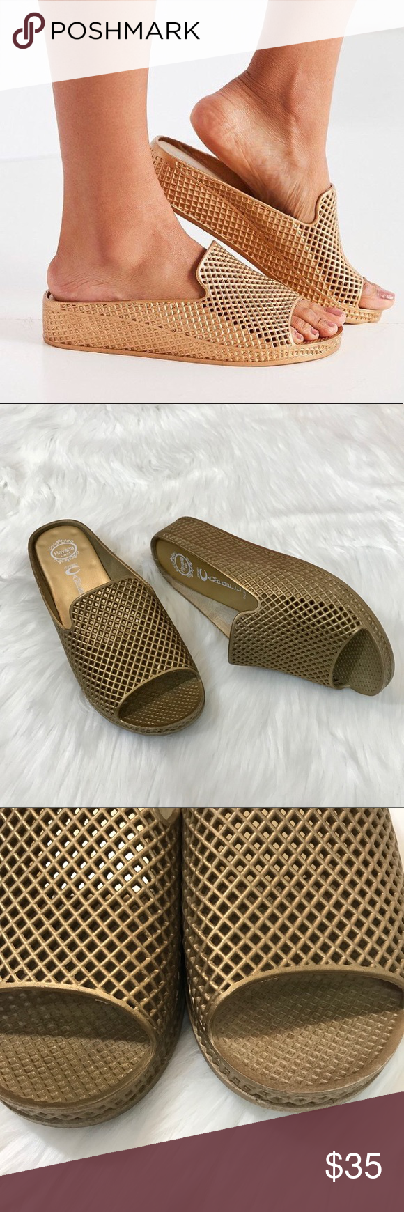 95bd2477a792 Jeffrey Campbell Fling 2 Sandals in Gold Adorable slide on sandals from Jeffrey  Campbell Size 9. Good pre-owned condition
