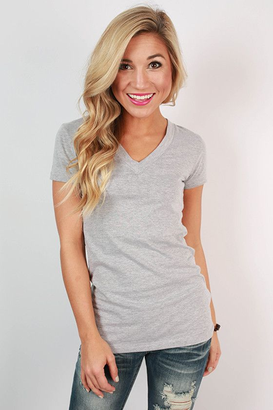 Basic v-tees are a must have for any season, and we love this form fitting one!