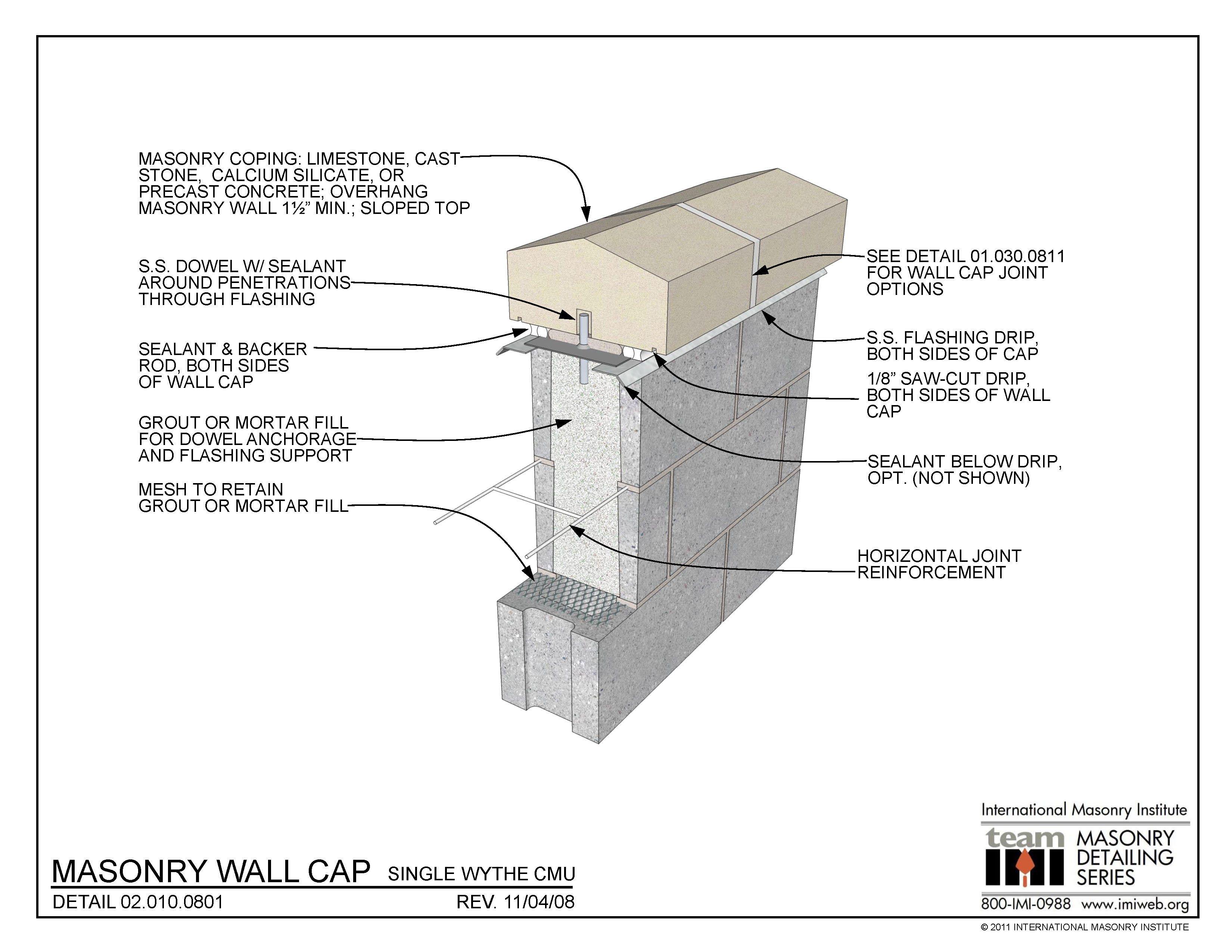 02.010.0801: Masonry Wall Cap - Single Wythe CMU ...