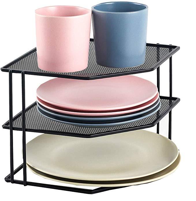 Amazon Com 3 Tier Corner Shelf Counter And Cabinet Organizer 3 Tier Organizer Kitchen Dining In 2020 Corner Shelves Cabinet Organization Shelf Organization