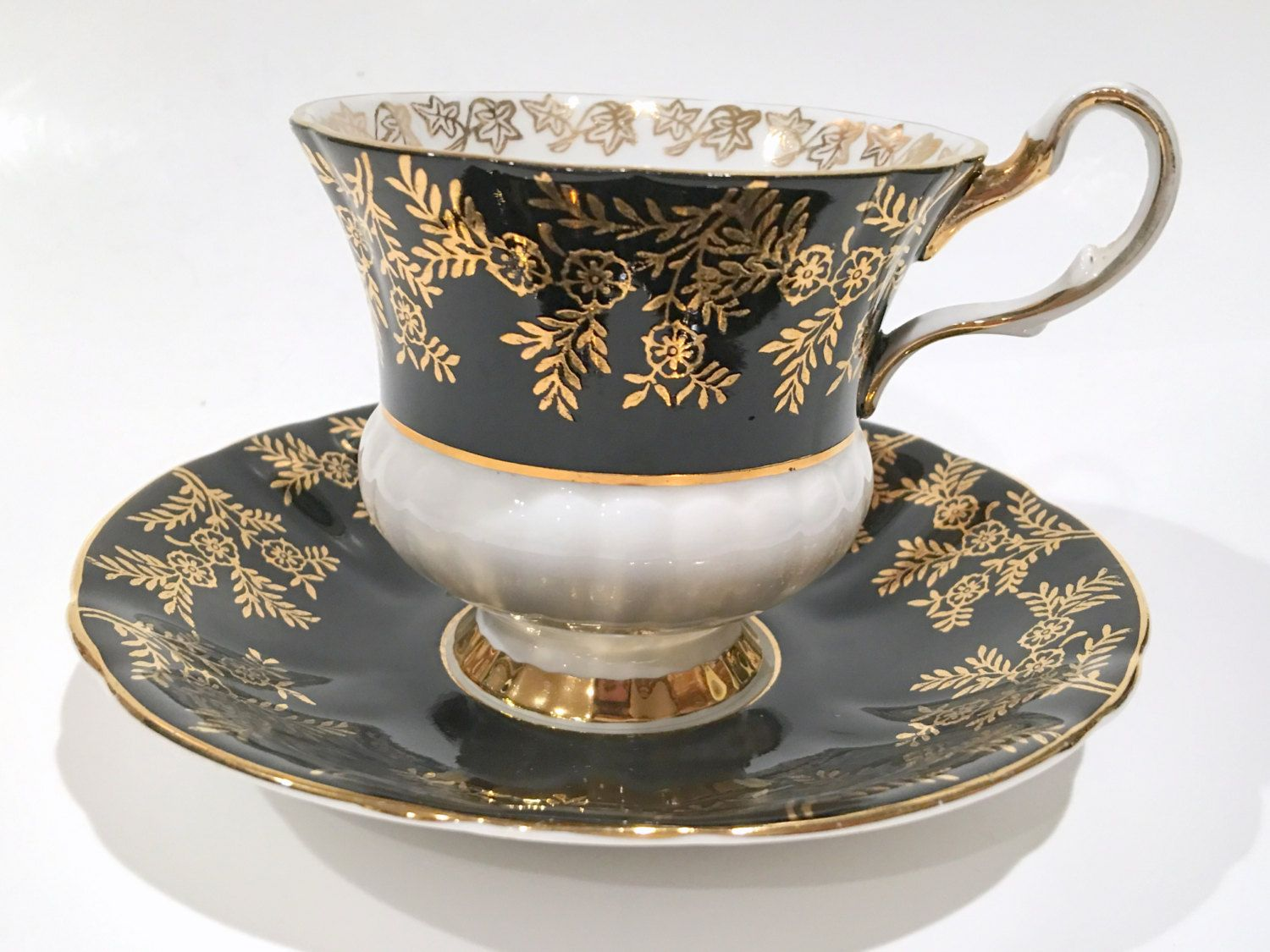 Royal albert bone china tea cup amp saucer winsome pattern ebay - Society Tea Cup And Saucer Black White Tea Cups Tea Set Bone China Cups Tea Party Antique Teacups Black Gold Cups Vintage Tea Cups