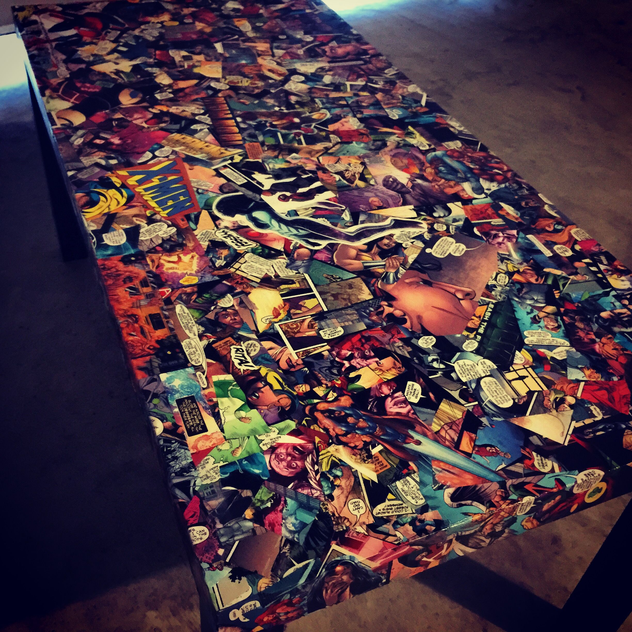 diy comic book desk. Comic Book Table Using Mod Podge Glossy And Clear Sealant Spray. Diy Desk
