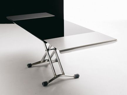 Dark Glass Top Adjustable Height Coffee Table To Dining Sides