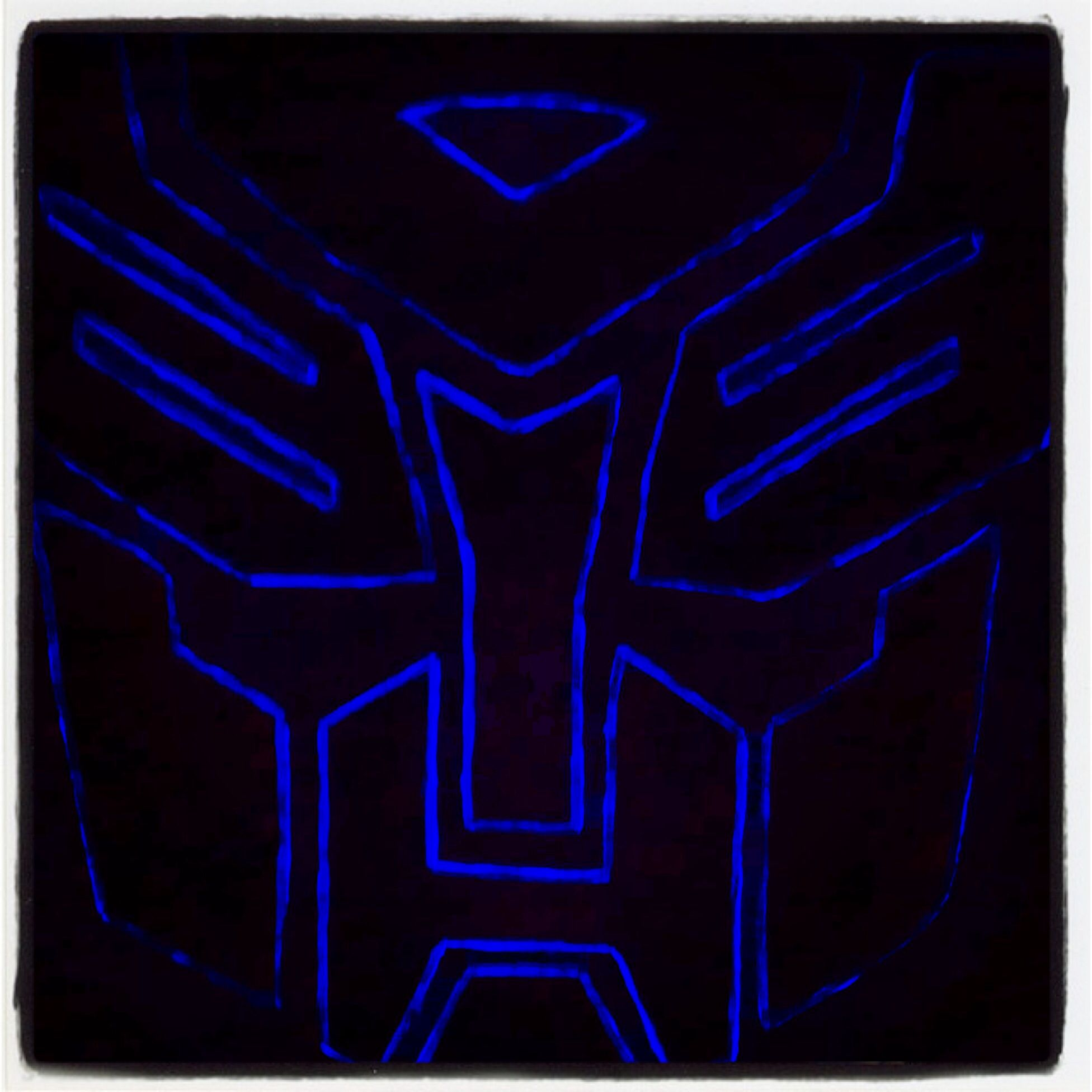 Huge Transformer Head Painted On Foam Insulation Board I Painted Over Lines Of Face With Clear Black Light Na With Images Light Nail Polish Painting Black Light