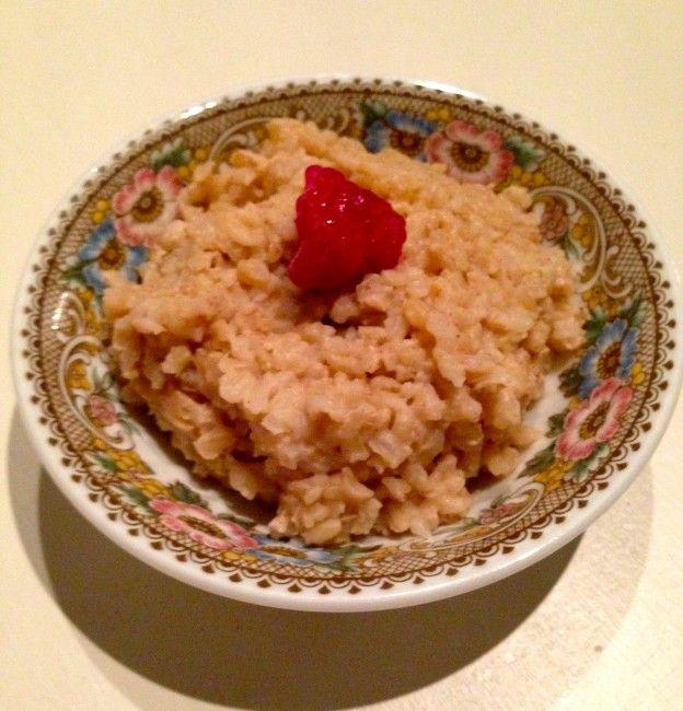 Healty rijstpap op basis van bruine zilvervliesrijst, kokosmelk en kokosbloesemsuiker!! Smakelijk!