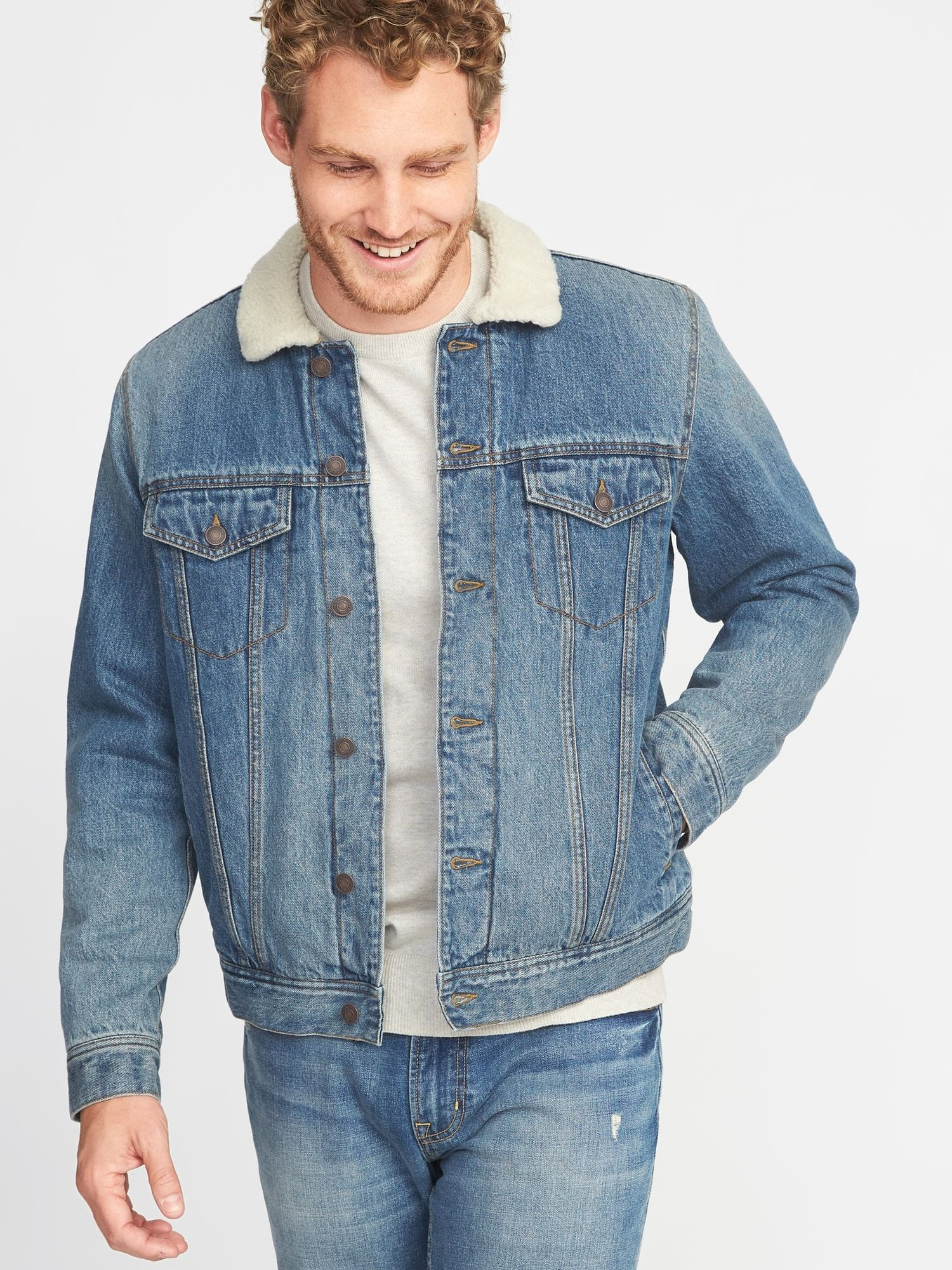 f0257b373494b Sherpa-Lined Denim Jacket for Men