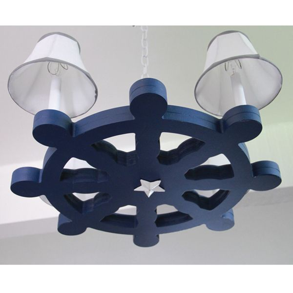 """The Ships Wheel chandelier features an actual wooden ships wheel design and paired with clean white chandelier shades for a complete nautical look. Order the Ships wheel chandelier in other colors to coordinate with your design project. Contact us for other shade options as well.Exclusive wooden ships wheel design23"""" diameter x 11"""" heightIncludes 3 feet of chainselect chain and canopy color to matchIncludes soft lined custom shadesflame retardant lining"""