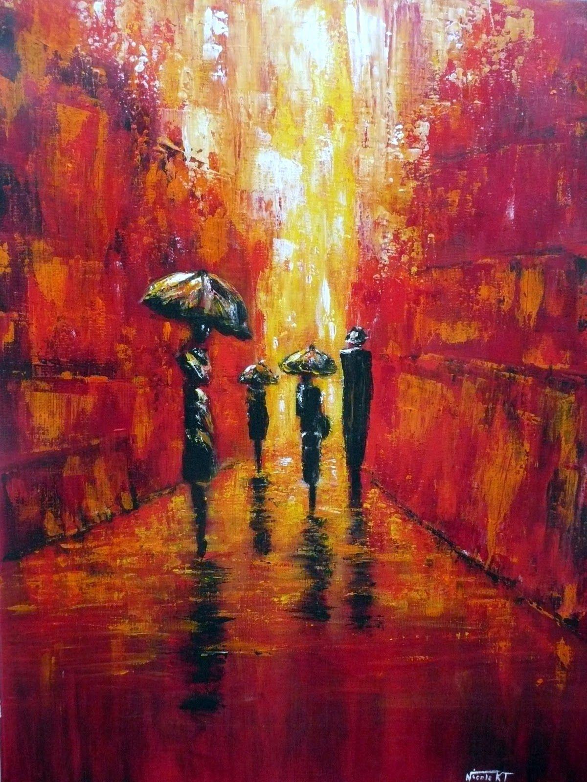 Nicole catt artiste peintre peinture acrylique au couteau les parapluies - Peinture acrylique tableau ...