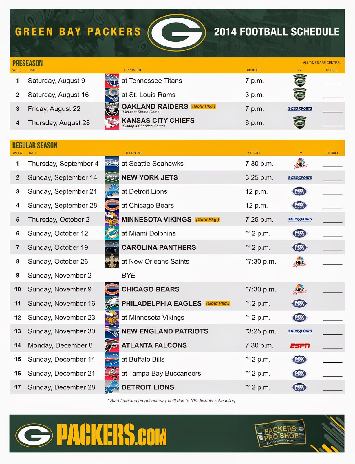 Packerville U S A 2014 Schedule Released Green Bay Packers Green Bay Green Bay Packers Fans