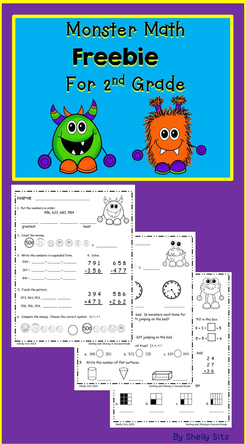 Printed) Monster Math Freebie for Second Grade--reviews 2nd grade ...