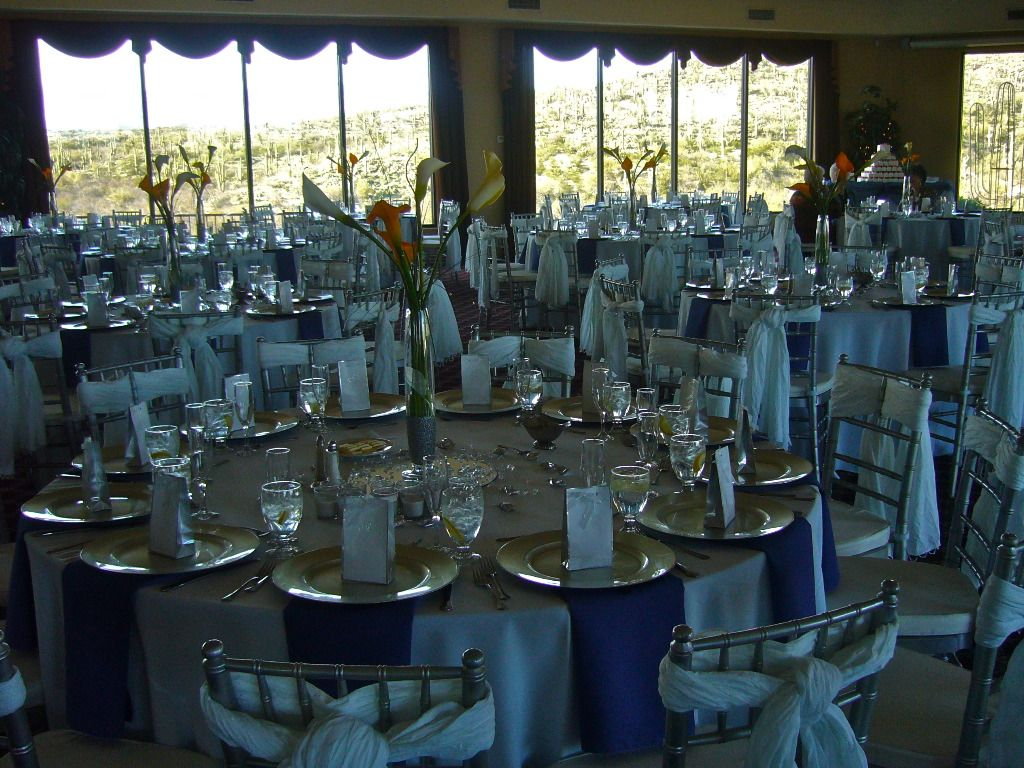 White And Silver Wedding Theme: Silver Linen, Chargers, Chairs White Chair Ties Blue