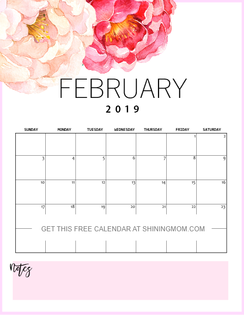 February Calendar 2019 Pretty Free Printable February 2019 Calendar: 12 Awesome Designs! | 2019